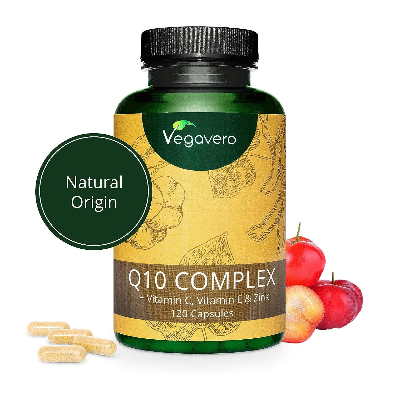 Coenzima Q10 + Vitaminas C + E + Zinc Vegavero® | COMBINACIÓN ÚNICA | SIN ADITIVOS | Antioxidante + Defensas + Energía | 120 Cápsulas | Ubiquinol | ...
