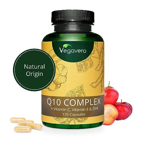 Coenzima Q10 + Vitaminas C + E + Zinc Vegavero® | La Única Natural | COMBINACIÓN ÚNICA | SIN ADITIVOS | Antioxidante + Sistema Inmunológico + Antiedad ...