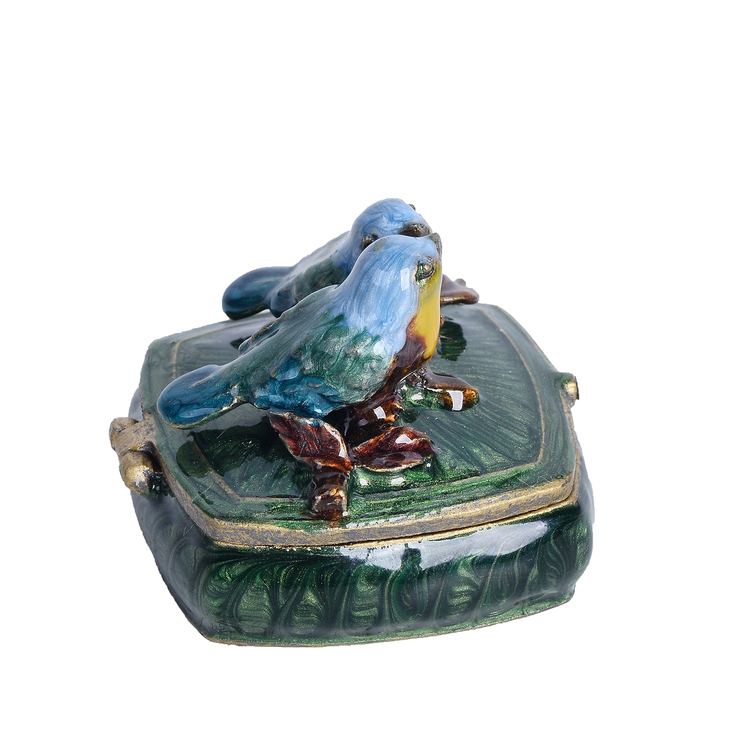 NIKKY HOME Small Vintage Love Birds Pewter Jeweled Trinket Box, 2.1'' by 2.1'' by 1.8'' by NIKKY HOME (Image #4)