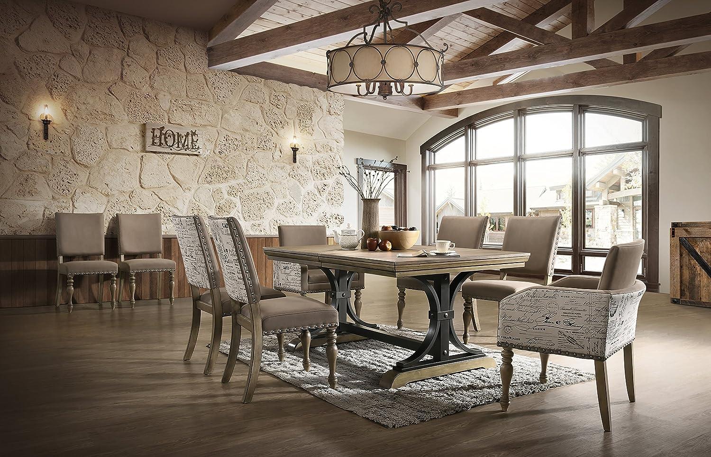 Roundhill Furniture Birmingham Dining Set, One Size, Driftwood Finish