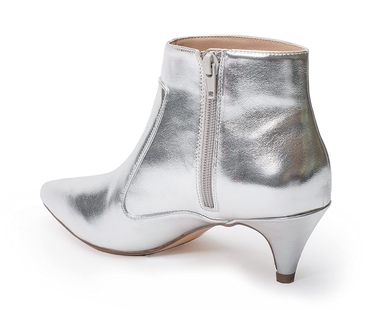 Jane and the Shoe Women's Kizzy Kitten Heel Ankle Boot B07DG1YDCX 7 M US|Silver