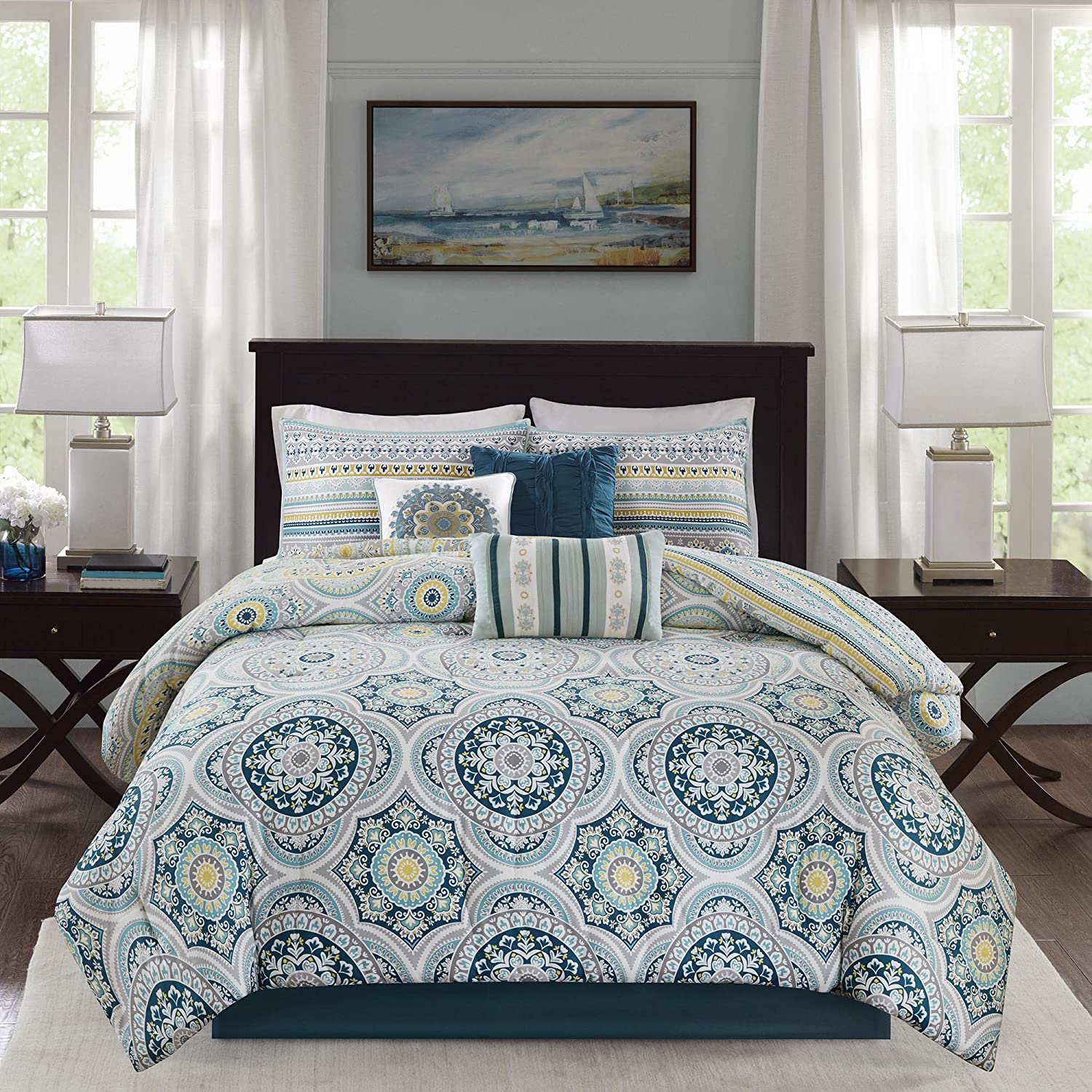 Madison Park Mercia Queen Size Bed Comforter Set Bed in A Bag - Navy Blue, Medallion – 7 Pieces Bedding Sets – Cotton Sateen Bedroom Comforters, Teal (MP10-4887)