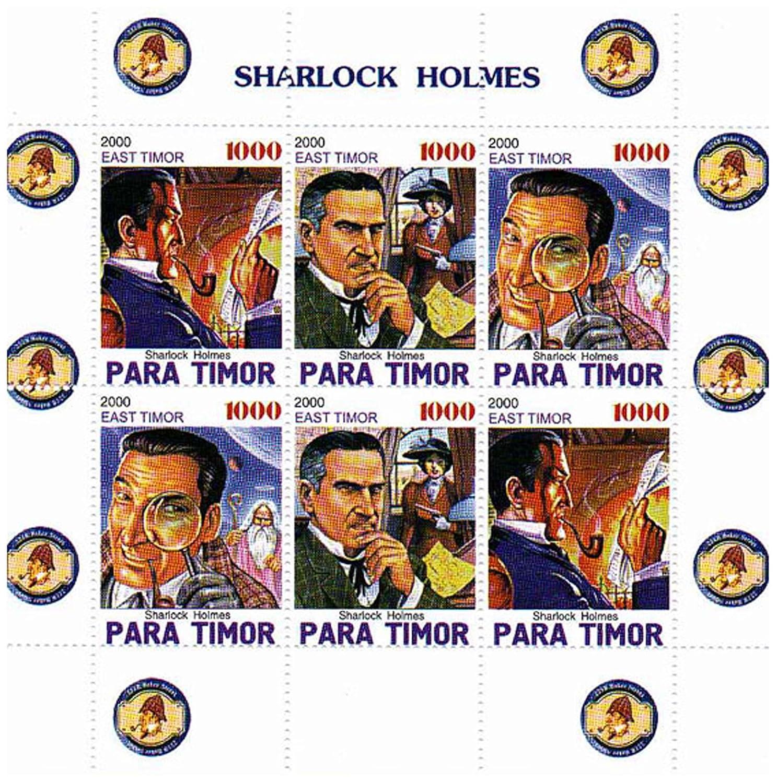 Mit Sherlock Holmes mit einer anderen Schreibweise lose 4 postfrische Briefmarken auf einem Briefmarkenbogen aus den Angeln gehoben Sherlock Holmes Briefmarken f/ür Briefmarkensammeln Sharlock Holmes