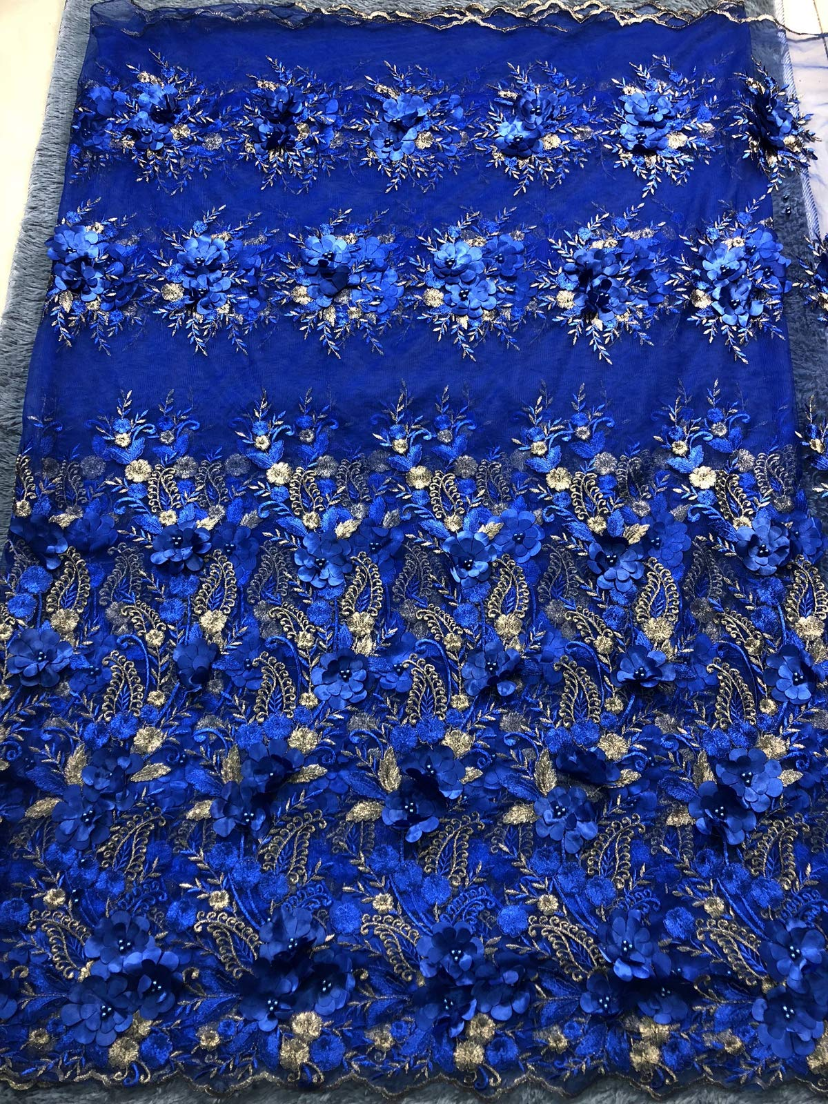 Milylace 5 Yards 3D Floral African Lace Fabric Nigerian Embroidered Mesh Lace Fabric with Beads for Wedding (Royal Blue) by Milylace (Image #3)