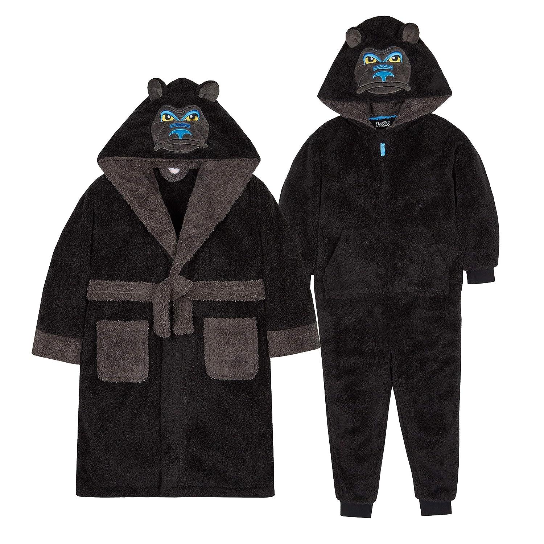 Metzuyan Boys Gorilla Snuggle Fleece Robe & All in One