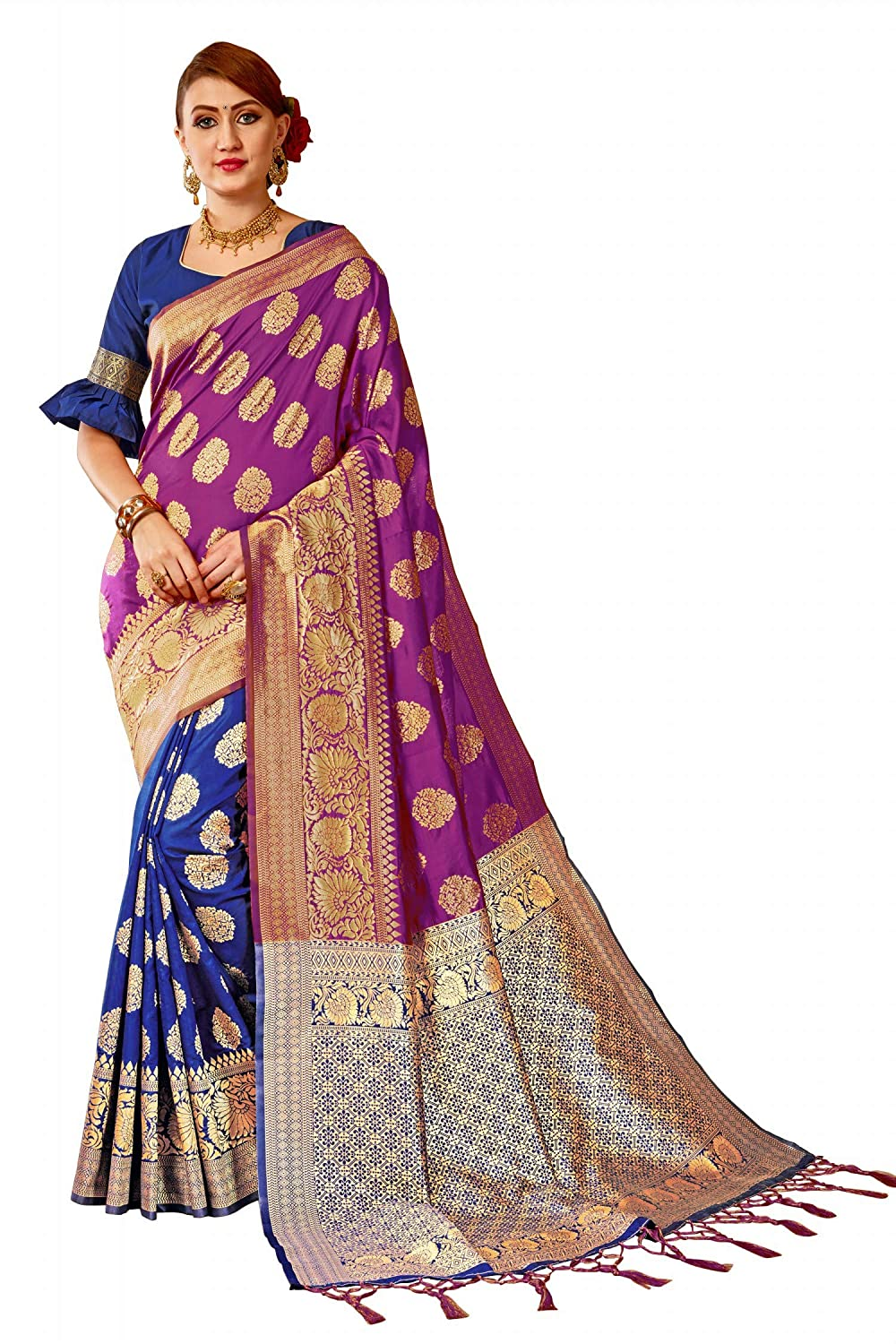 be8452ca6a710c Bigben Textile Women s Navy Blue Purple Woven Banarasi Silk Saree With  Blouse Piece  Amazon.in  Clothing   Accessories