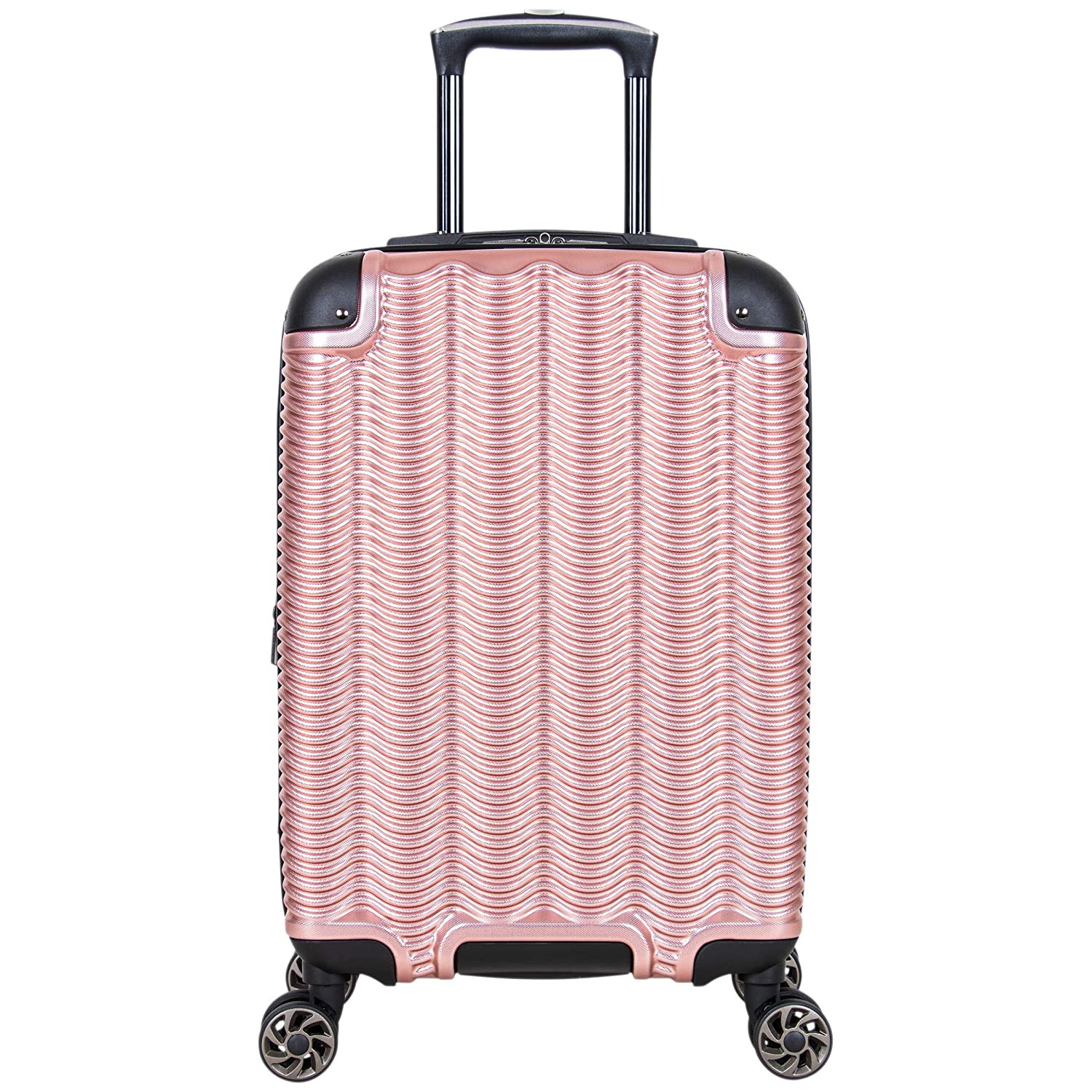 Kenneth Cole Reaction Wave Rush 20 Lightweight Hardside 8-Wheel Spinner Expandable Carry-On Suitcase, Rose Gold