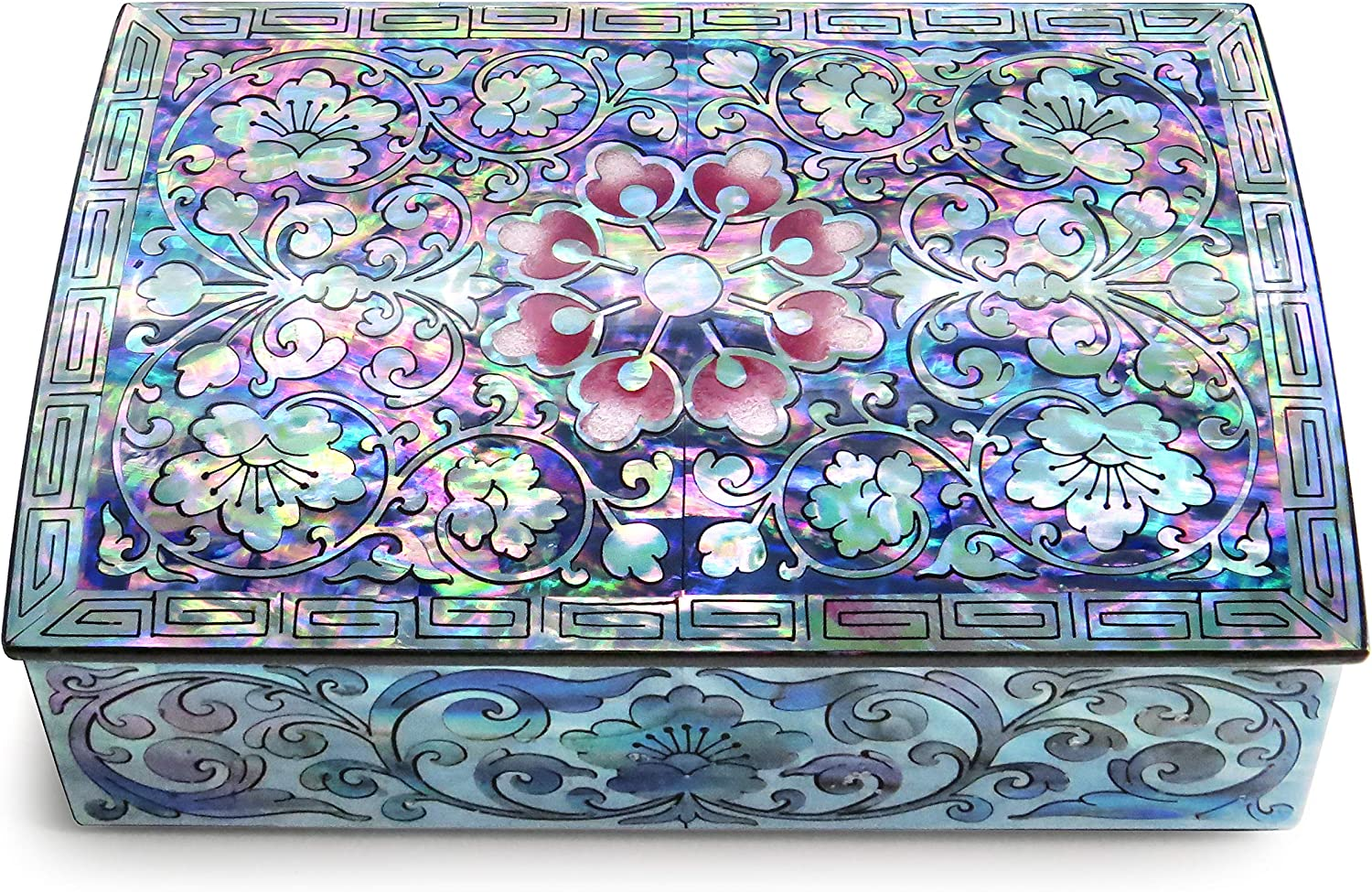 MADDesign Mother of Pearl Small Jewelry Trinket Box Korean Sea Shell Lacquered Flower Pink