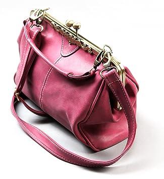 Designer Damen Handtasche in Pink mit Clipverschluss und