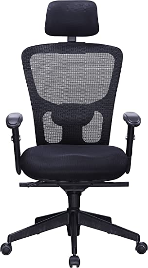 Amazon Com Office Factor Black Mesh High Back Executive Office Chair Adjustable Arms Head Rest Seat Depth Lumbar Support Height Pu Casters Ergonomic Design Adjust And Lock In 4 Different Positions Furniture