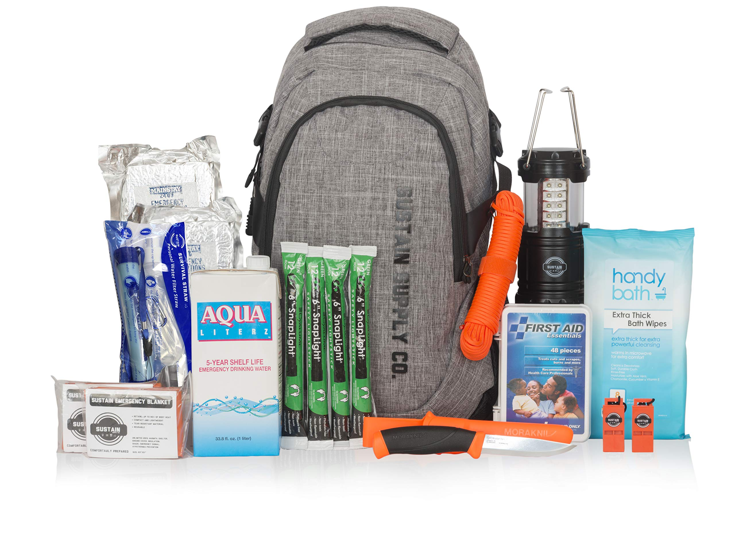 Sustain Supply Co. Essential 2-Person Emergency Survival Bag/Kit - Be Equipped for 72 Hours of Disaster Preparedness with Premium Basic Supplies for 2 People by Sustain Supply Co.