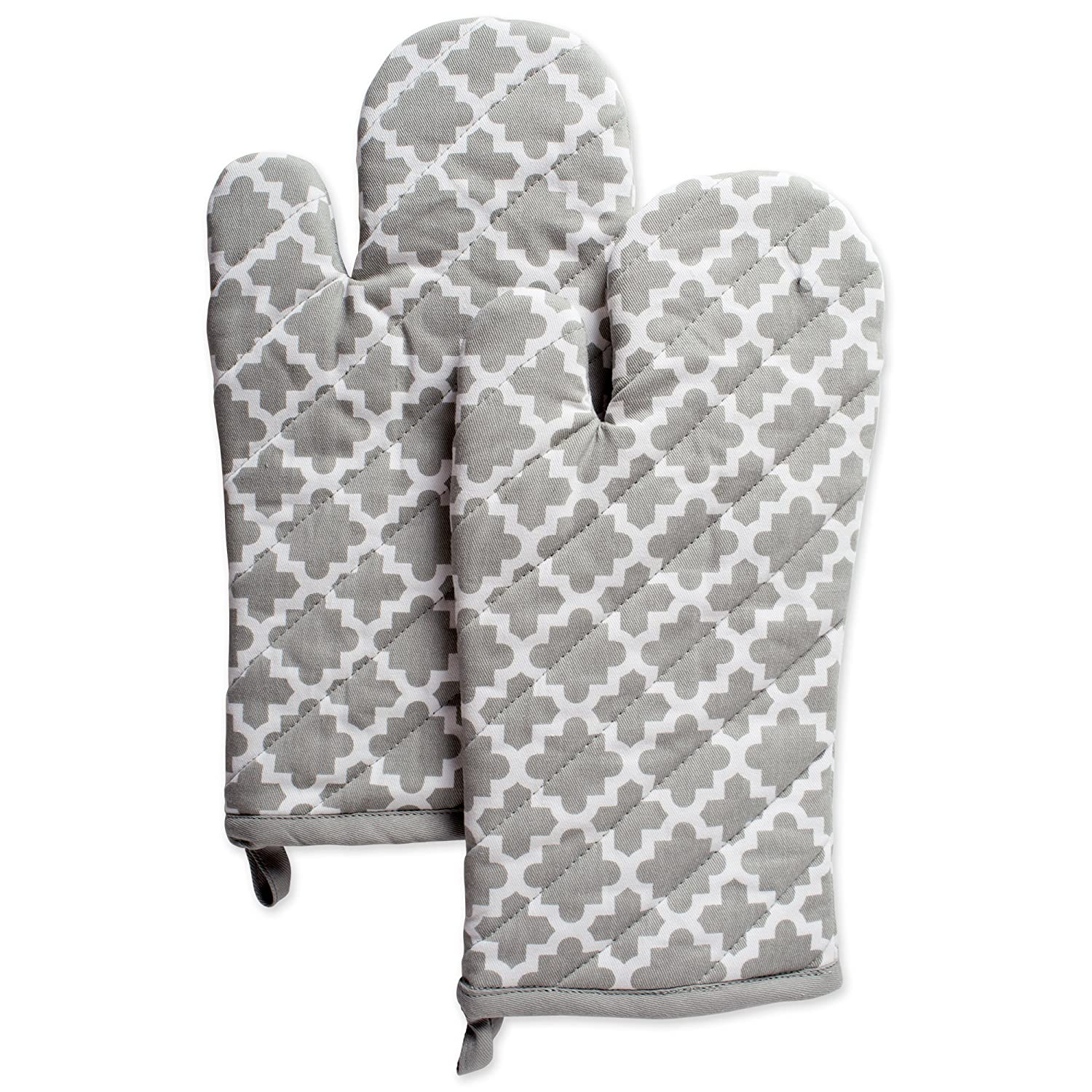 "DII Cotton Lattice Oven Mitts, 13 x 7"" Set of 2, Machine Washable and Heat Resistant Baking Glove for Everyday Kitchen Cooking-Gray"