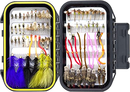 Assortment Trout Fly Fishing Dry Flies Streamer Nymph Emerger with Fly Box