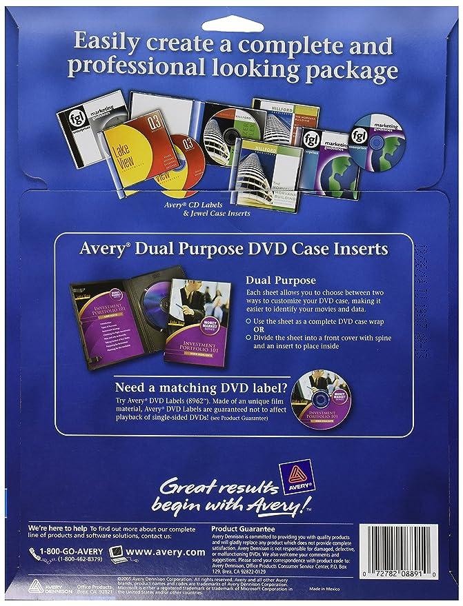 amazon com avery 8891 inkjet dvd case inserts matte white pack of