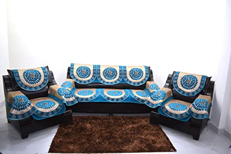Buy KINGLY Sky Blue Sofa Cover with ARM Set of 12PC(3+1+1 ...