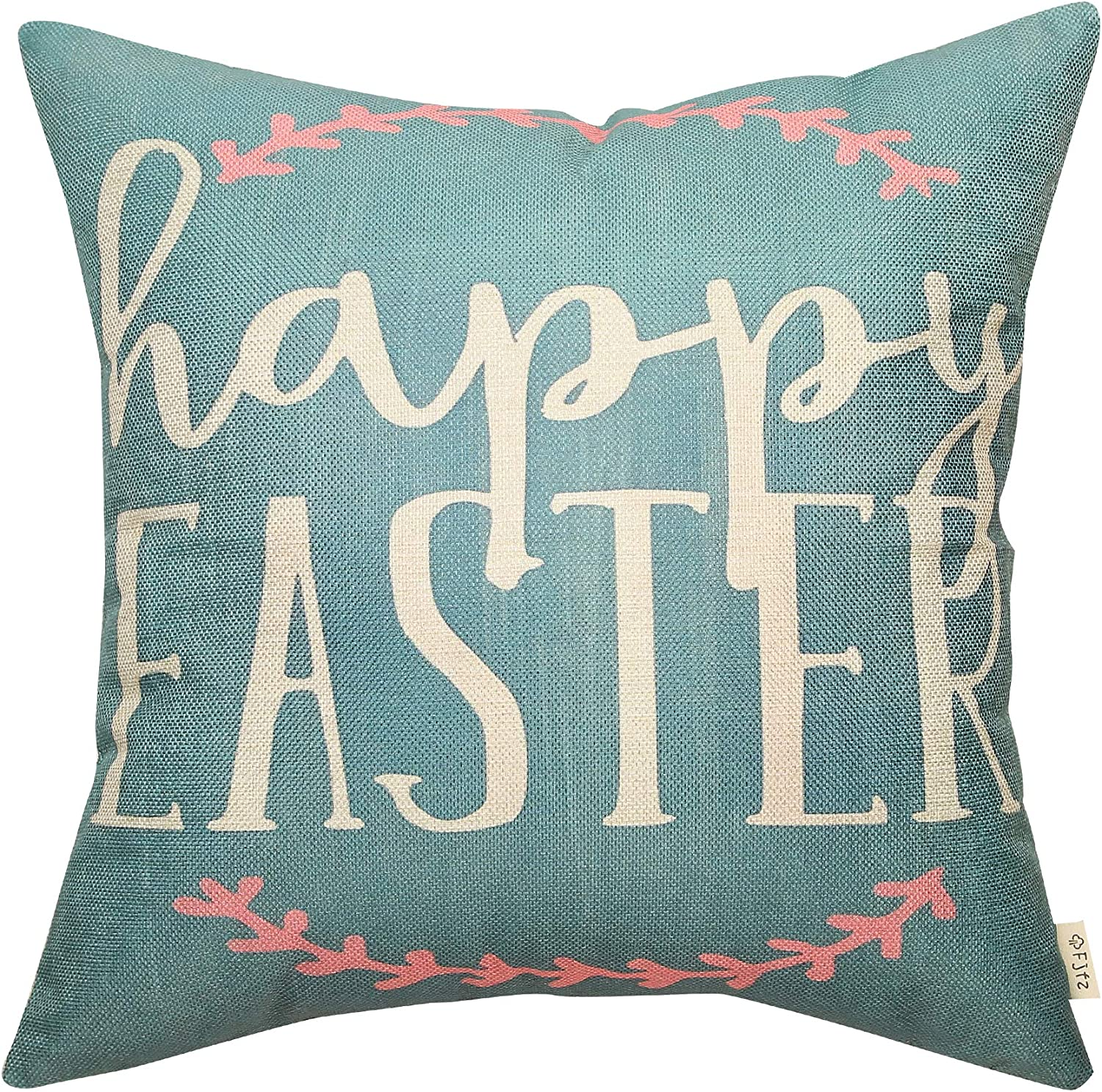 Fjfz Rustic Farmhouse Decor Happy Easter Sign Spring Sign Cotton Linen Home Decorative Throw Pillow Case Cushion Cover with Words for Sofa Couch, 18