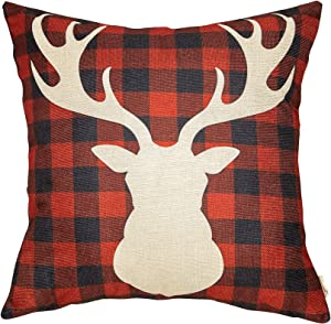 Fahrendom Rustic Christmas Farmhouse Style Black and Red Buffalo Checker Plaid Deer Head Winter Holiday Sign Gift Cotton Linen Home Decorative Throw Pillow Case Cushion Cover for Sofa Couch 18 x 18 In