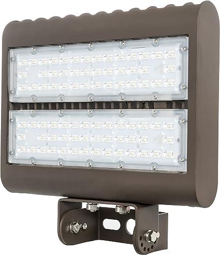 Westgate Outdoor LED Flood Light Fixture with Yoke Mount – Shoebox Parking Lot, Street, Area Lights – 120-277V – IP65 DLC Approved 80 Watt 3000K Warm White