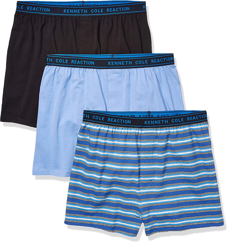 Kenneth Cole Reaction Men's Underwear Cotton Spandex Knit Boxer Brief, Multipack