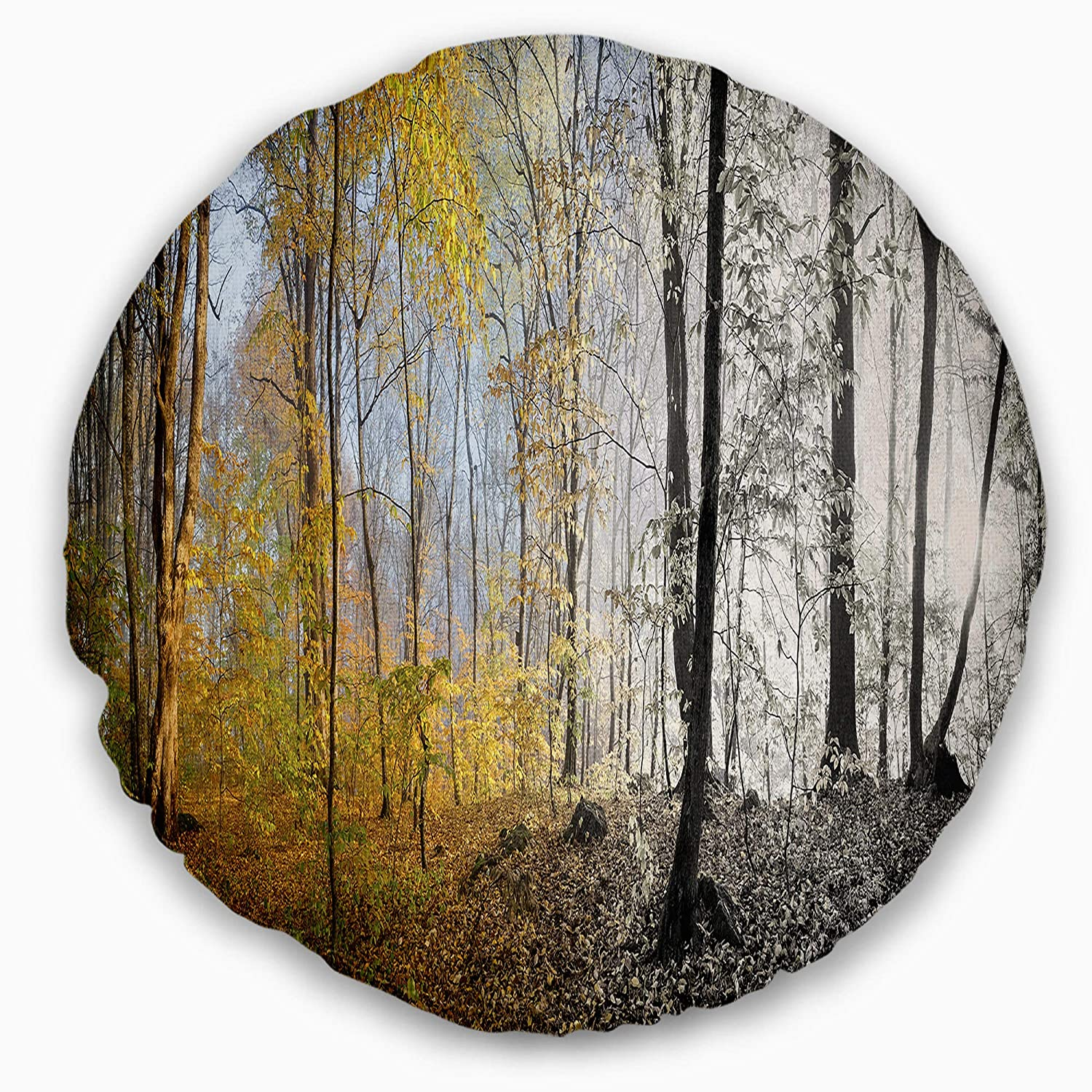 Sofa Throw Pillow 16 Insert Side Designart Cu15465 16 16 C Yellow Morning In Forest Panorama