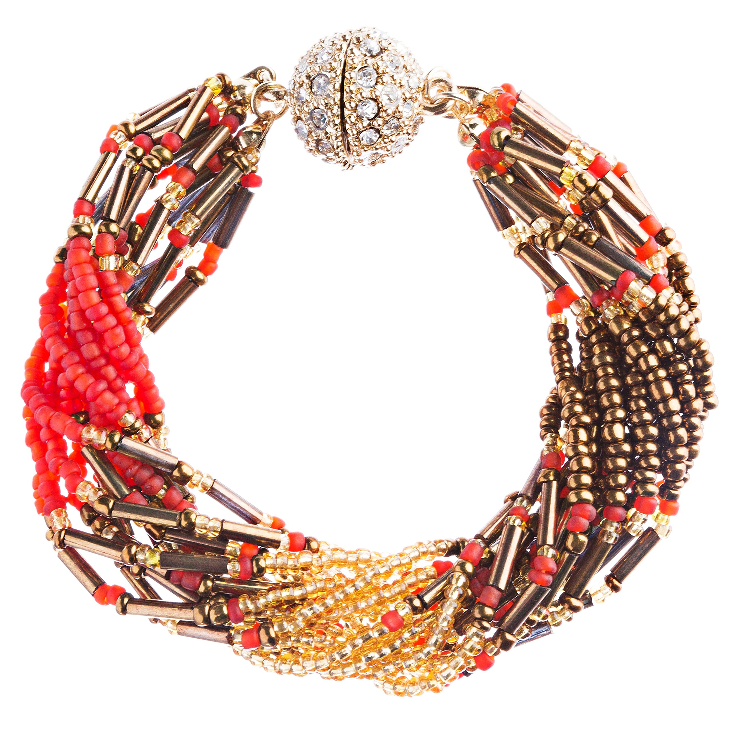 Fashion Multi Strands Beads Rhinestone Magnetic Closure Bracelet B454 Gold Red