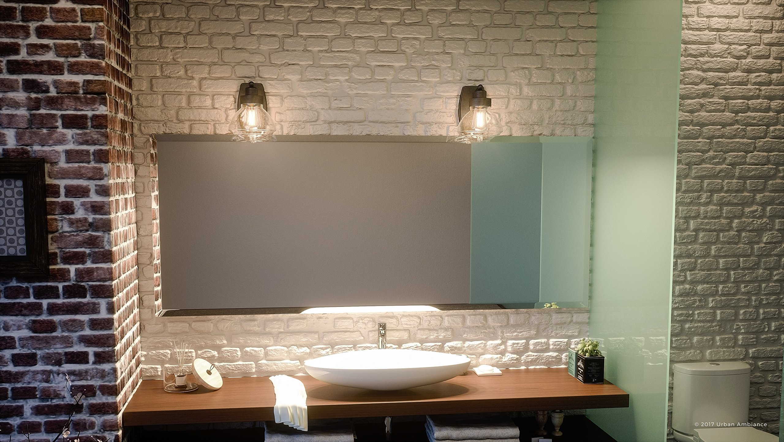 Luxury Transitional Bathroom Vanity Light, Small Size: 8.75'' H x 6.75'' W, with Rustic Style Elements, Oil Rubbed Parisian Bronze Finish and Seeded Schoolhouse Glass, UQL2650 by Urban Ambiance by Urban Ambiance (Image #2)