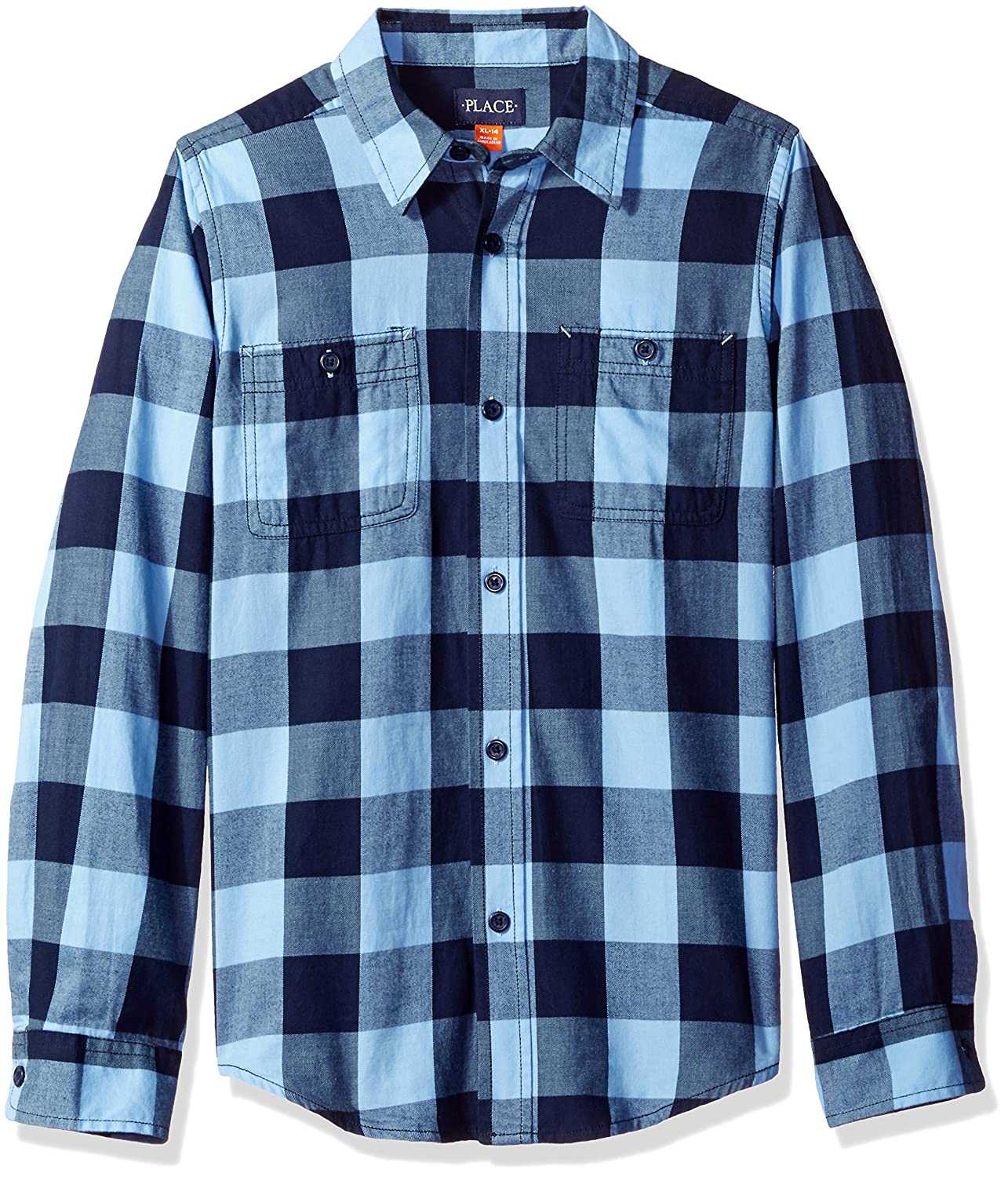 The Children's Place Big Boys' Brushed Twill Long Sleeve Shirt