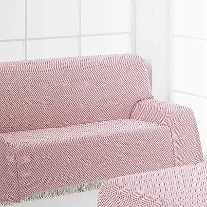 Frenessa Colcha Multiusos Foulard para Sofá, 125x180cm Color Rosa (Varios tamaños y Colores Disponibles)