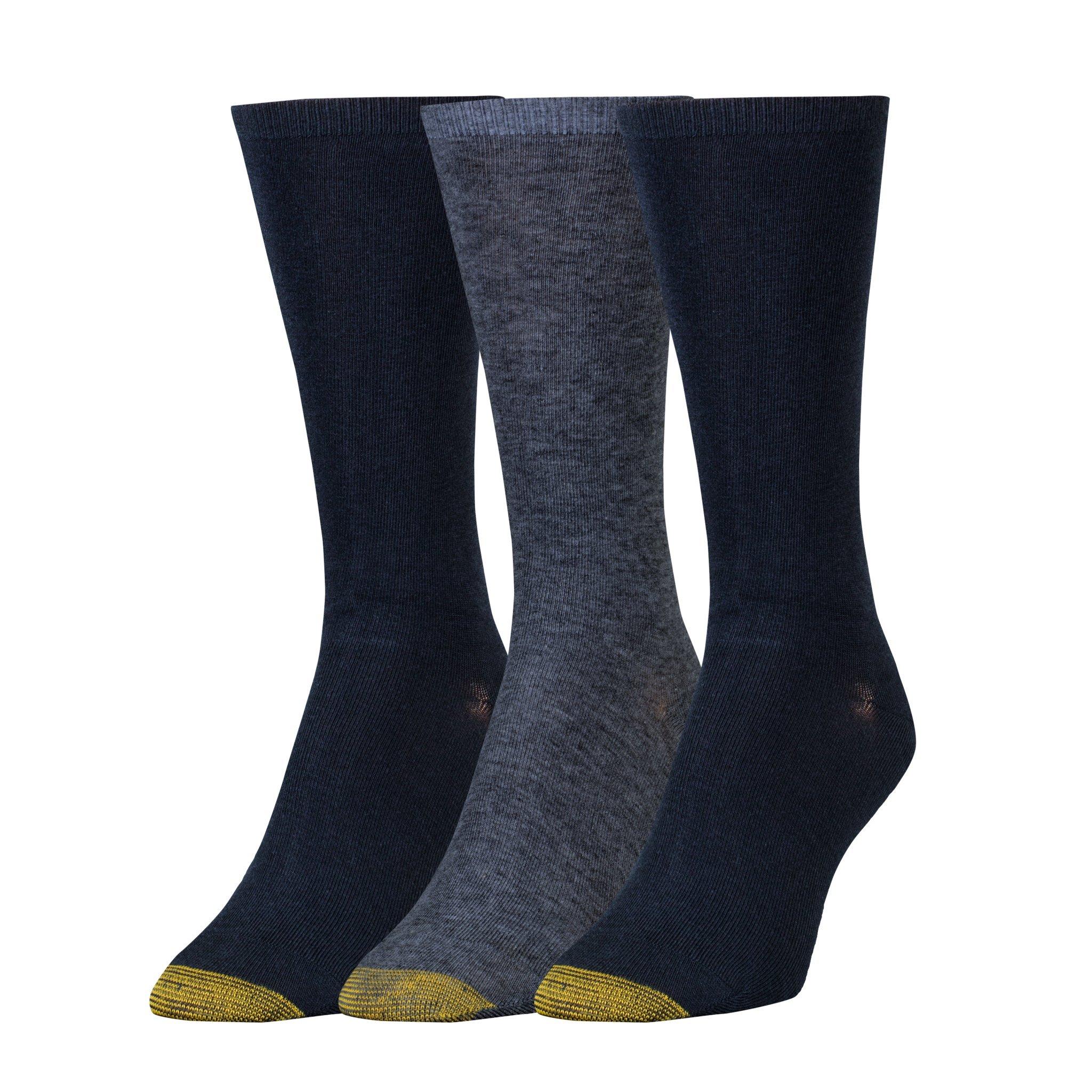 Gold Toe Women's Non-Binding Flat Knit Crew Socks, 3 Pairs Denim/New Navy, Shoe Size: 6-9