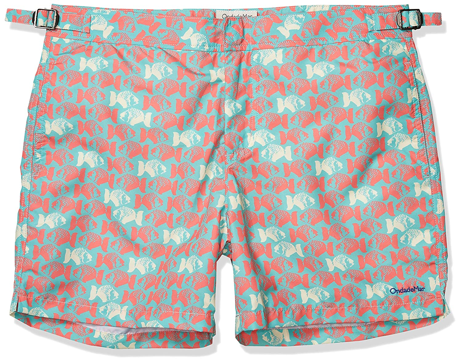 Vintage Men's Swimsuits – 1930s to 1970s History OndadeMar Mens Sand Fit Snap Front Printed Fixed Waist Swim Trunk $65.57 AT vintagedancer.com