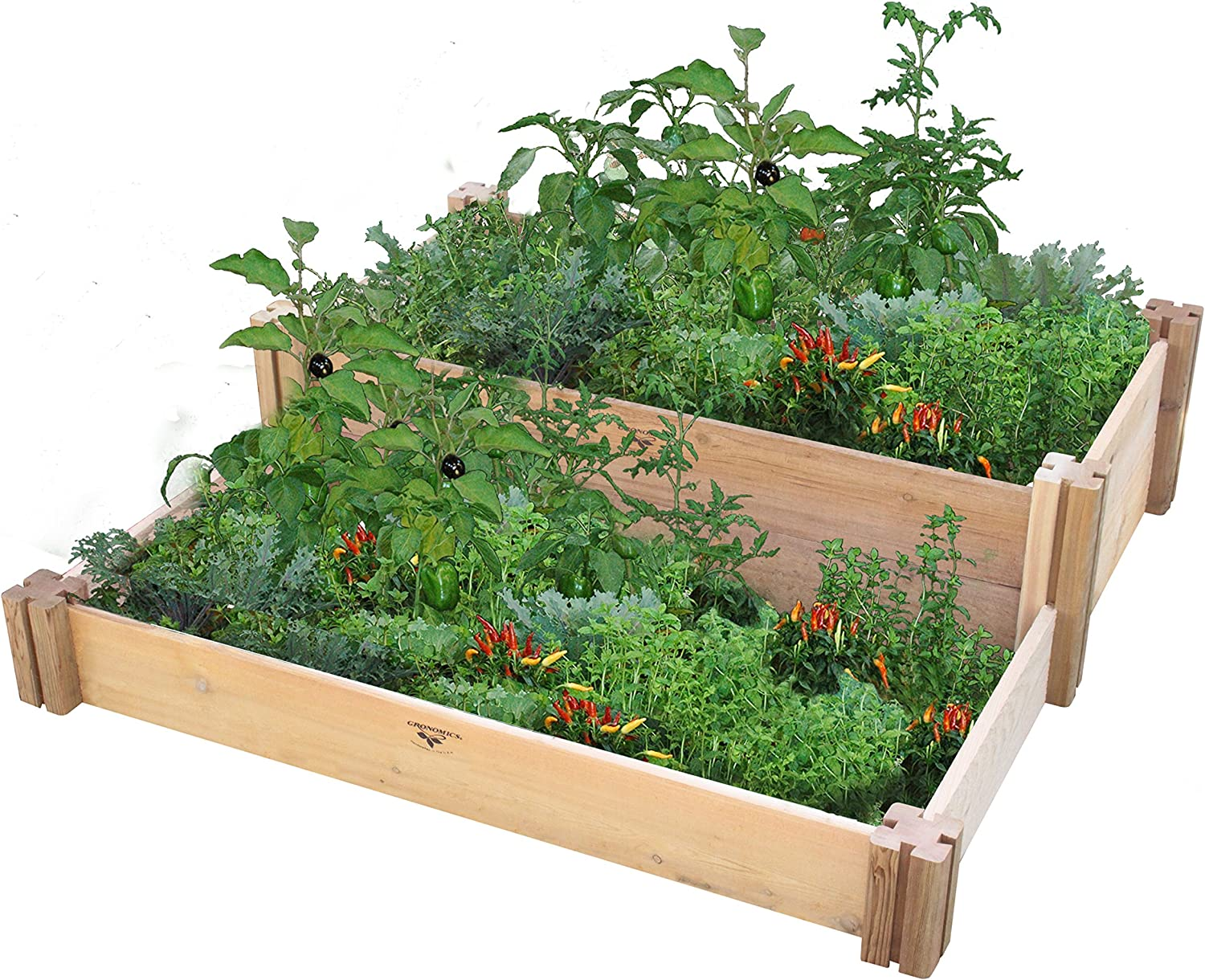 Gronomics Multi-Level Rustic Raised Garden Bed, 36 by 36 by 13""