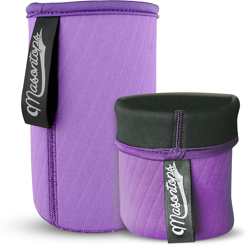 Masontops Wide Mouth Mason Jar Neoprene Sleeve - Purple - Triple Insulated Cozy - 2 Sleeves Cover 16-24 oz & Quart Sizes