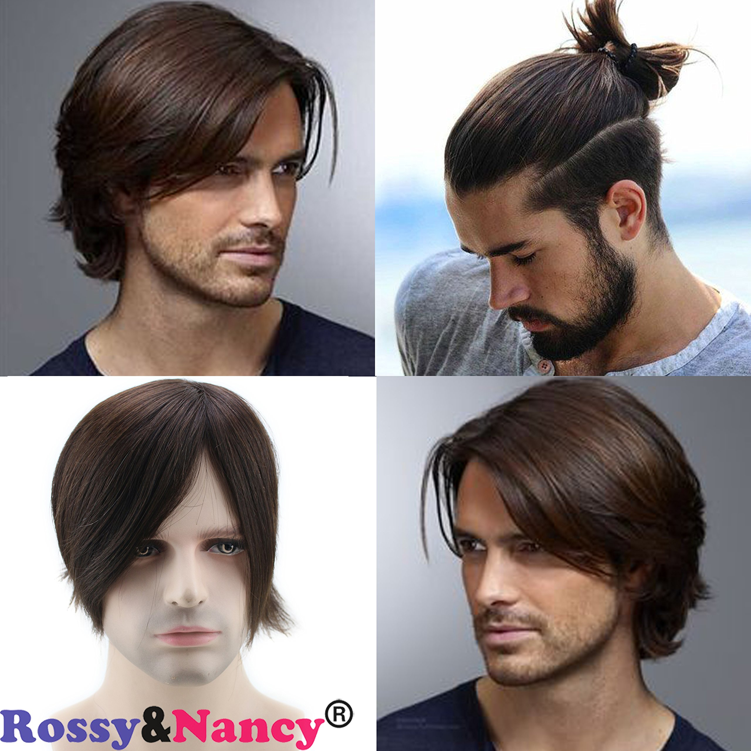 Rossy&Nancy Skin Mens Human Hair Wigs Toupee Mono Base with Thin Skin Hairpieces for Man #3 Brown Color 130% Density 6''x8'' by Rossy&Nancy