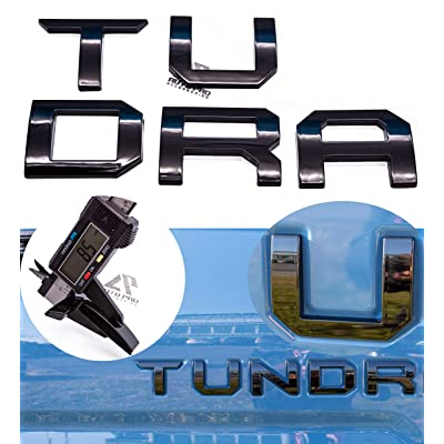 AUTO PRO ACCESSORIES 3D Raised Tailgate Insert Letters Emblems Decal For Toyota Tundra 2014-2020 (Gloss Black): Automotive