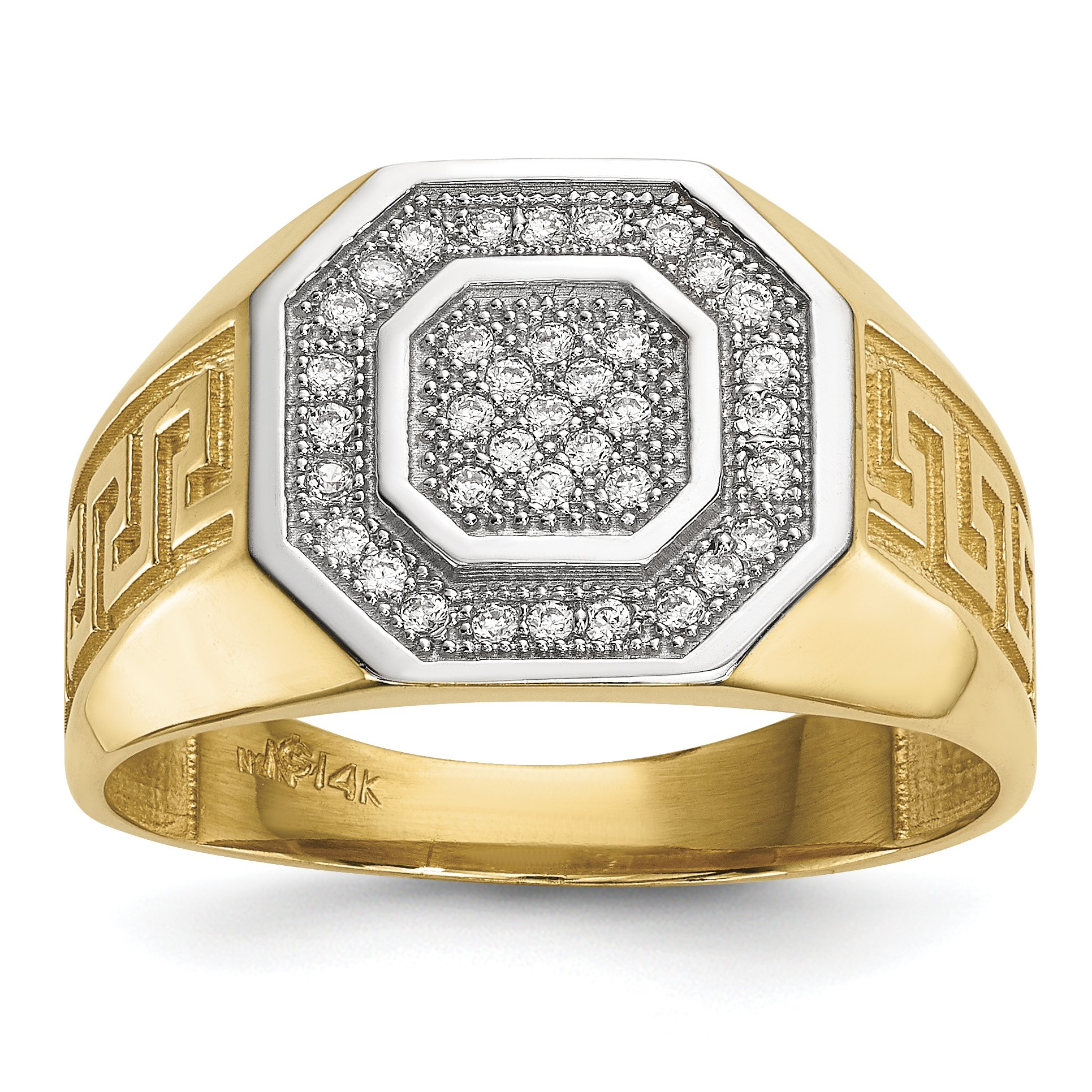 ICE CARATS 14k Yellow Gold Mens Micro Pave Cubic Zirconia Cz Octagon Greek Key Band Ring Size 10.00 Signet Fine Jewelry Dad Mens Gift Set