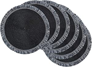 Dii Round Fringed Woven Placemat Set Use For Everyday Family Meals Or Special Occasions 14 75 Black 6 Count Home Kitchen Amazon Com