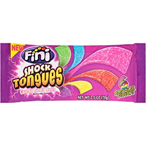 Fini Shock Tongues, Six Sour Flavor Belt Candy, 2.5 oz Bag (Pack of 20)