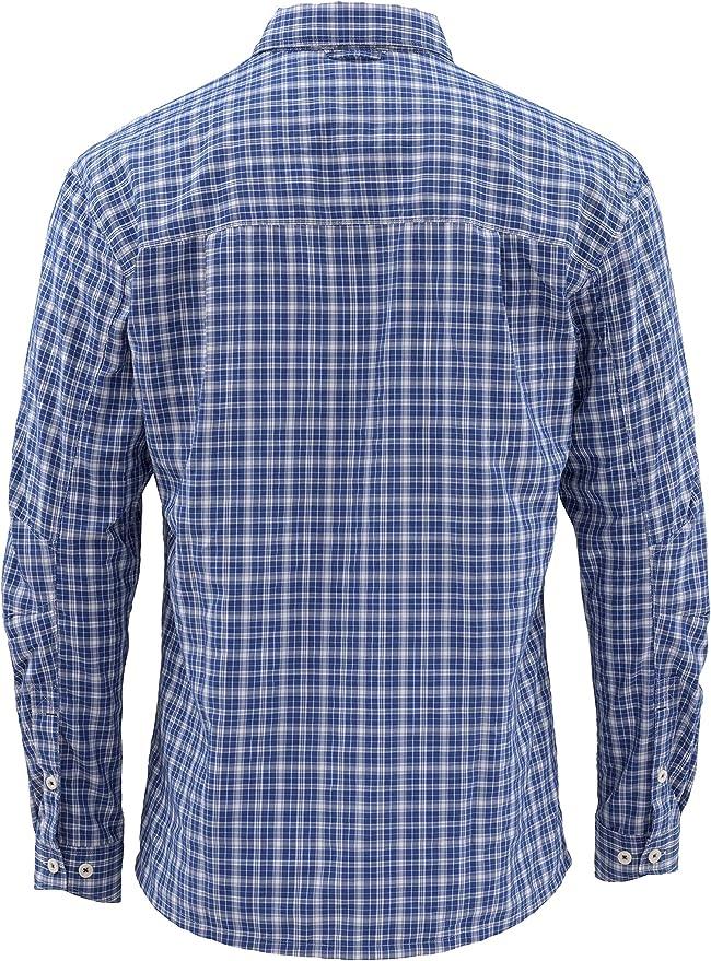 Simms Morada Camisa de Pesca para Hombre - UPF 30 Camisa de Manga Larga - Camisa de Angler Resistente al Agua - Resistente a las Arrugas Botón Abajo - Camisa de Pesca
