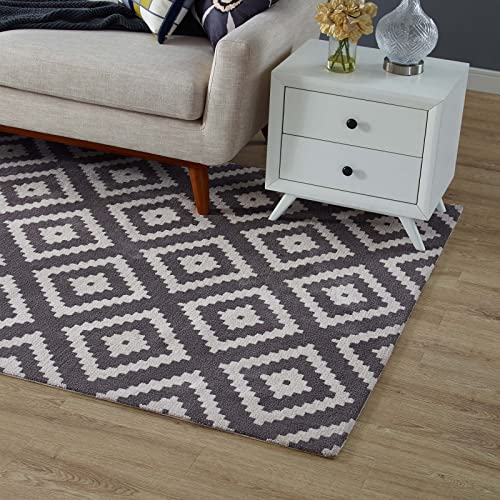 Modway Alika Abstract Diamond Trellis Area Rug, 5X8, Ivory and Charcoal