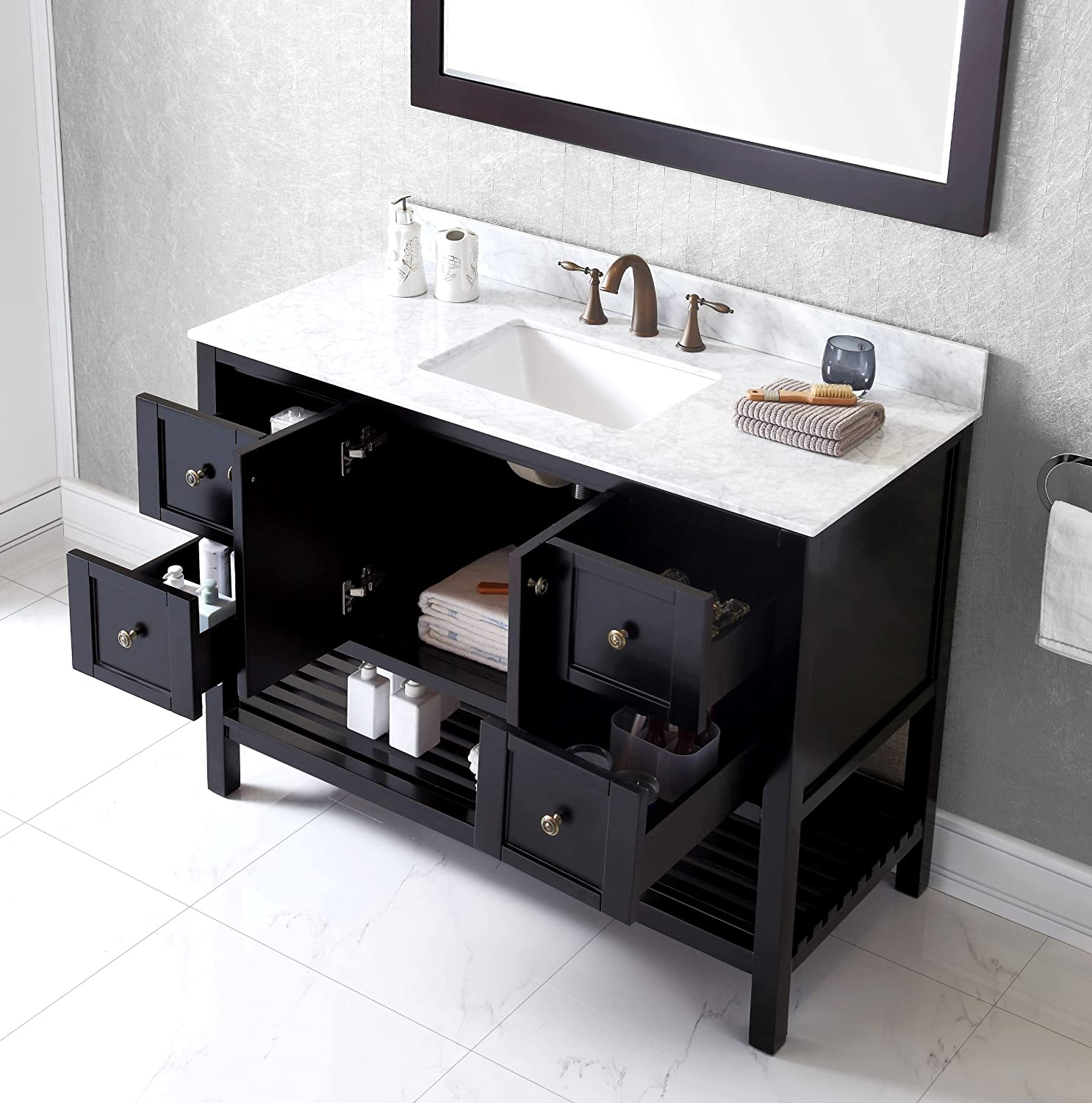 Virtu USA ESWMSQES Winterfell Inch Single Bathroom Vanity - Bathroom vanities pompano beach fl
