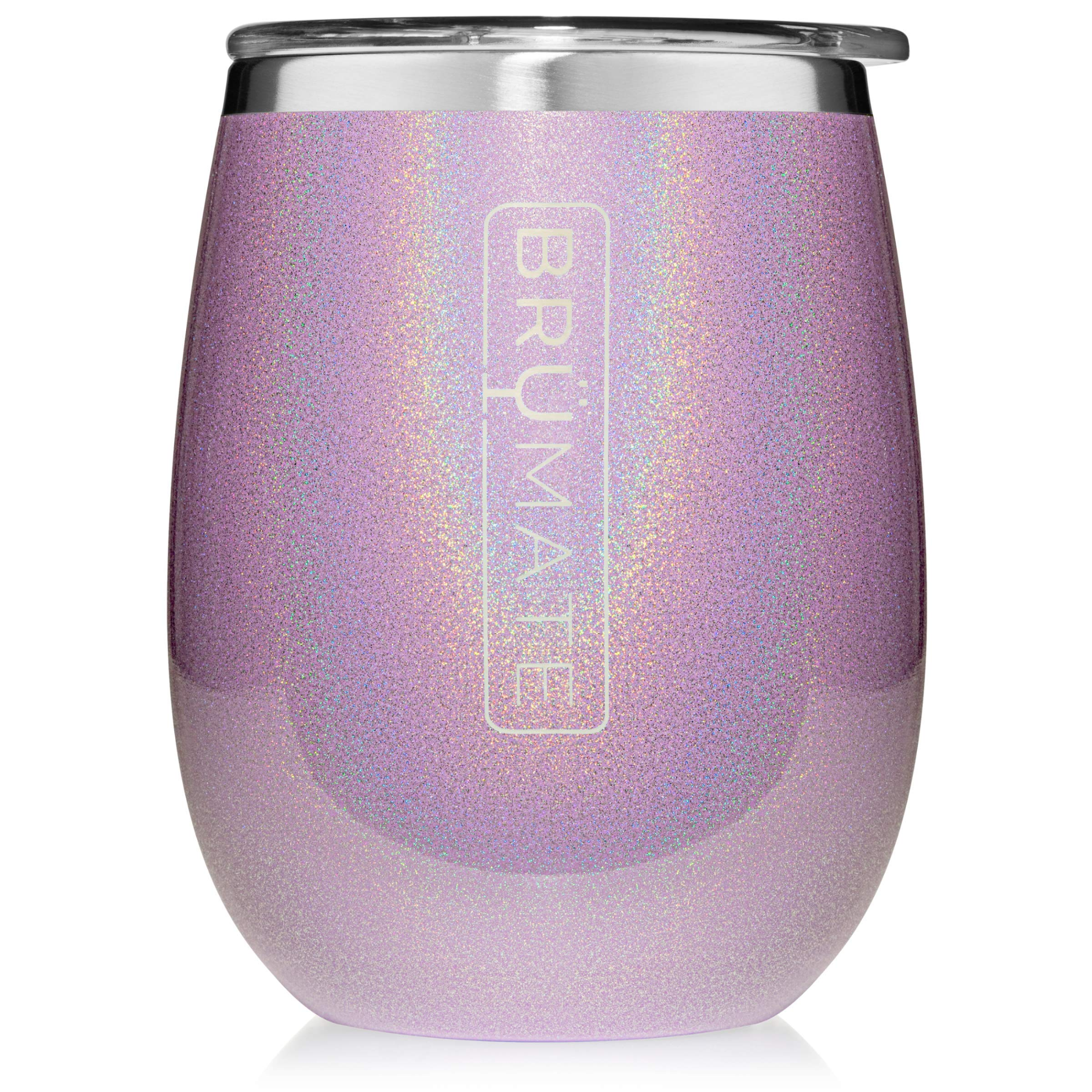 BrüMate Uncork'd XL 14oz Wine Glass Tumbler With Splash-proof Lid - Made With Vacuum Insulated Stainless Steel (Glitter Violet)
