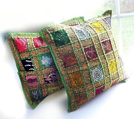 Amazon.com: Verde Throw fundas de almohada, manta Rajastán ...