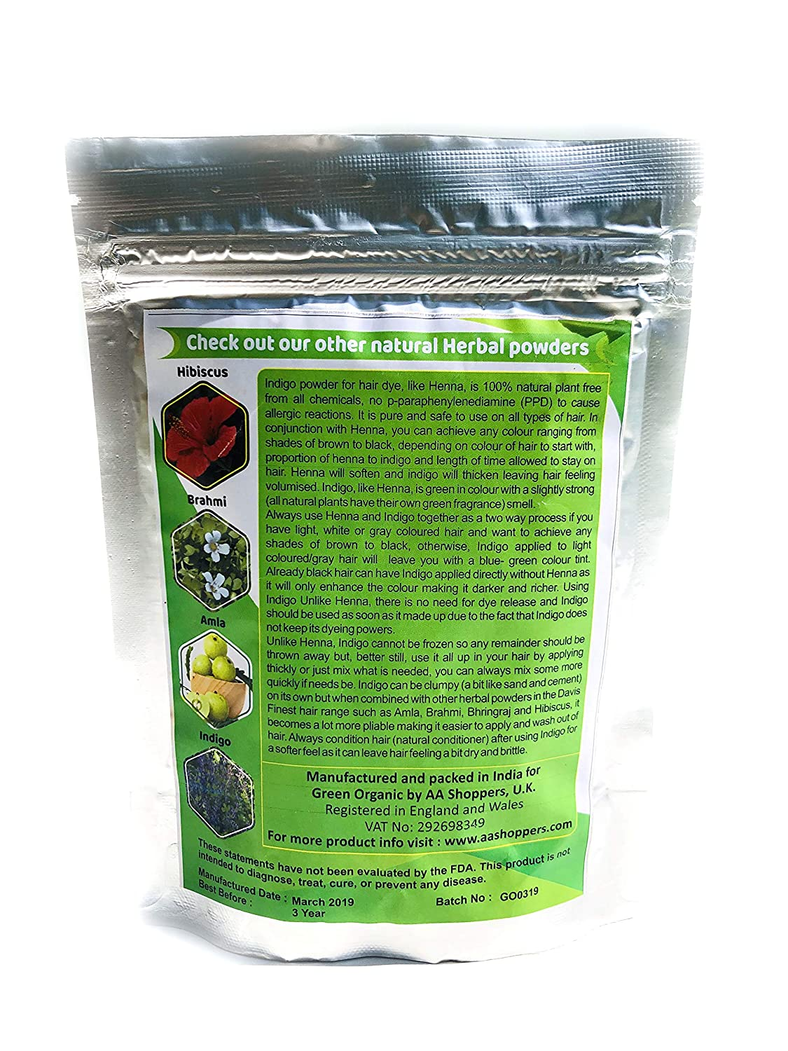 Pure Indigo Powder Natural Hair Colour Ammonia Ppd Chemical Free With Henna To Reach Chestnut Brown Black 100g Beauty