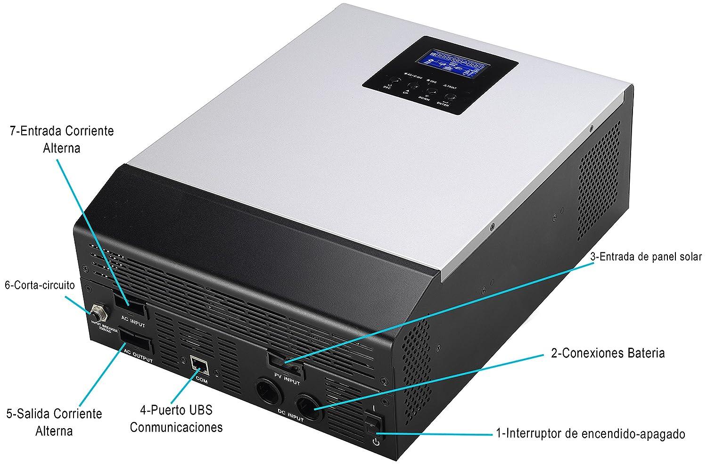 Inverter Onda Pura multifunzione 3000 VA DC24 V a AC220 V PWM 50 Amp Caricatore di Bateria 30 Amp 3 in 1 /…