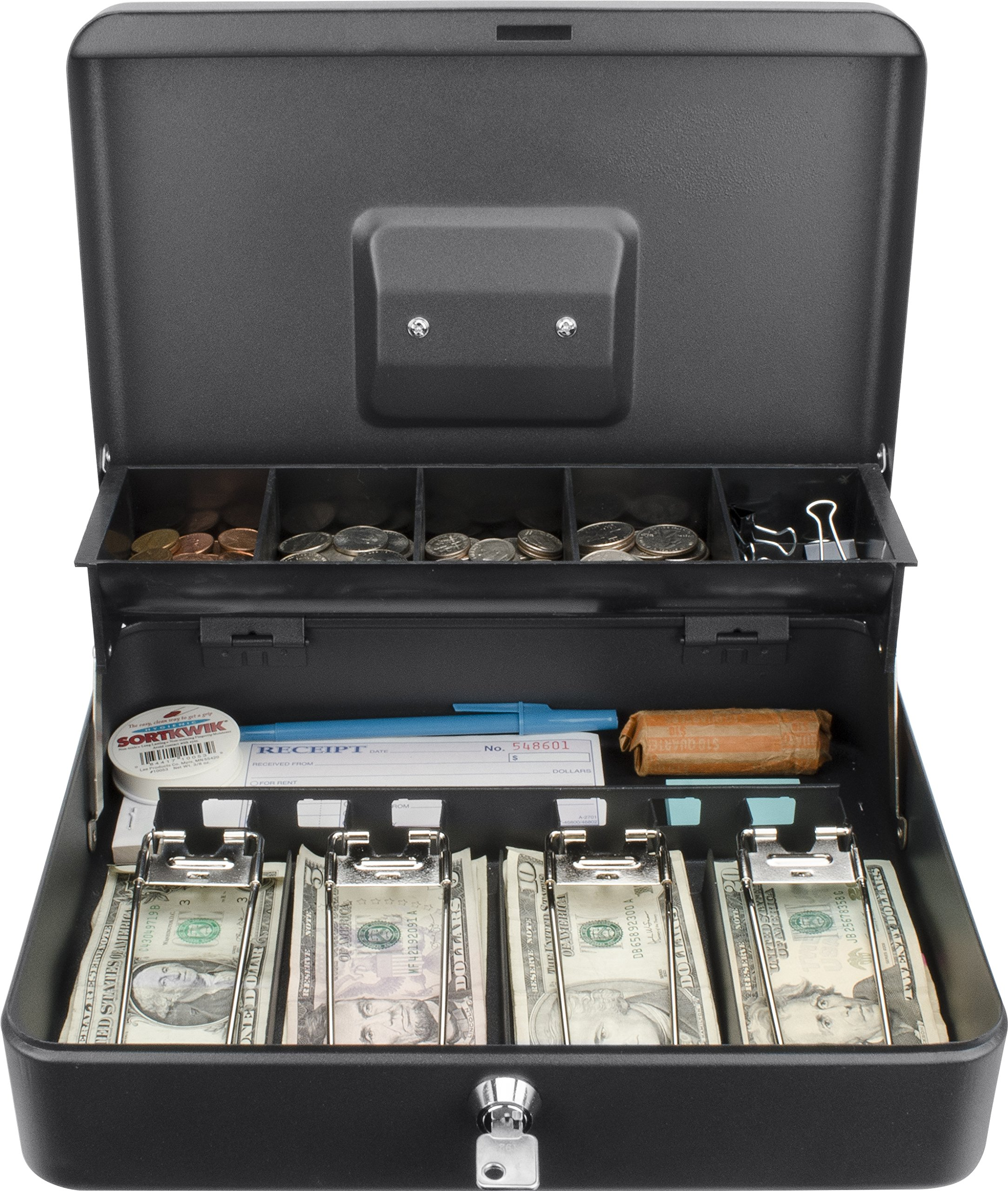 BARSKA 12'' Standard Register Style Cash Box with Key Lock, Black