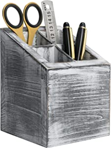 MyGift Vintage Gray Wood 4 Slot Pen & Pencil Holder Box, Square Desktop Office Supply Storage Box