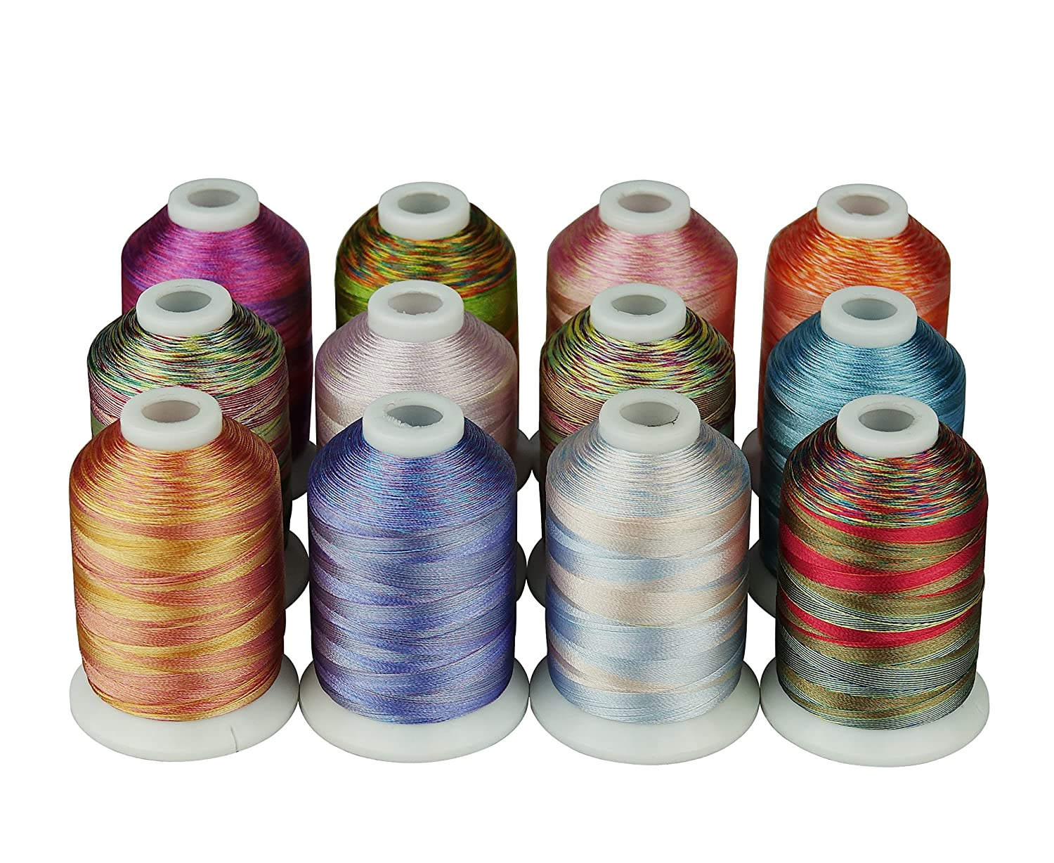 12 Multi Color Polyester Embroidery Thread 1000 Meters Each for Janome Brother Pfaff Babylock Singer Bernina Husqvaran and Most Home Embroidery Machines CR INDUSTRY 4337015912