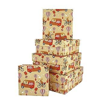 Cajas de Navidad rojas y kraft Rudolph divertidas – nido de 5 cajas cuadradas hechas a