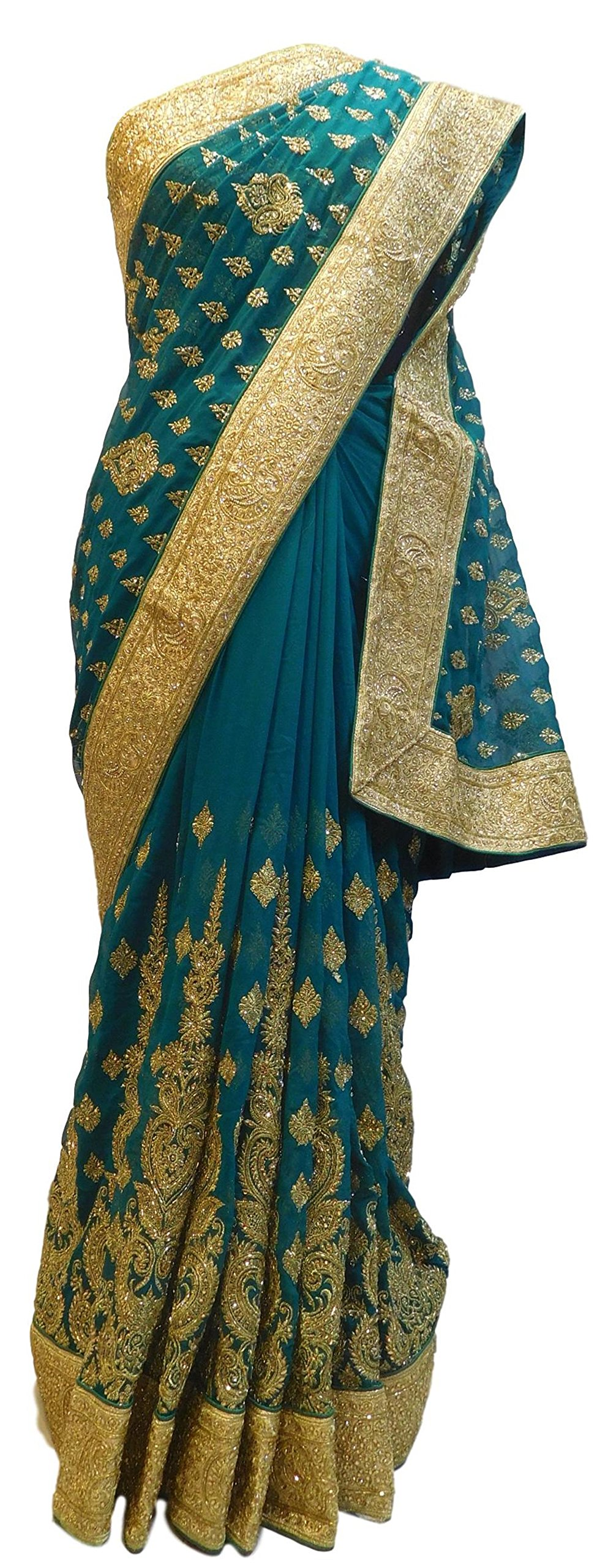 SMSAREE Turquoise Designer Bridal PartyWear Georgette Cutdana Zari Stone Work Wedding Saree Sari E020
