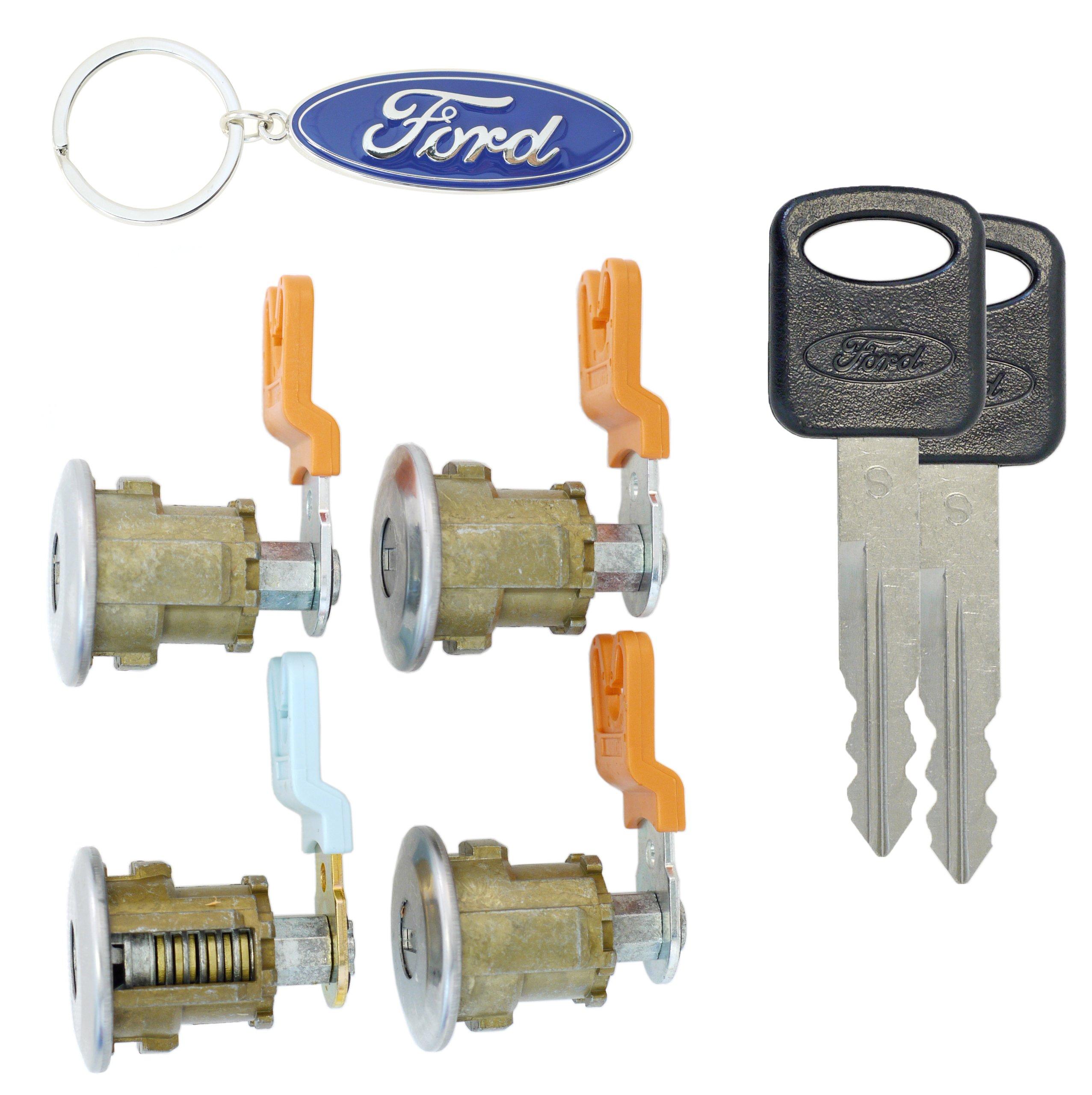 Ford Econoline Van Ignition /& 4 Chrome Door Lock Cylinder W//4 OEM Ford Logo Keys